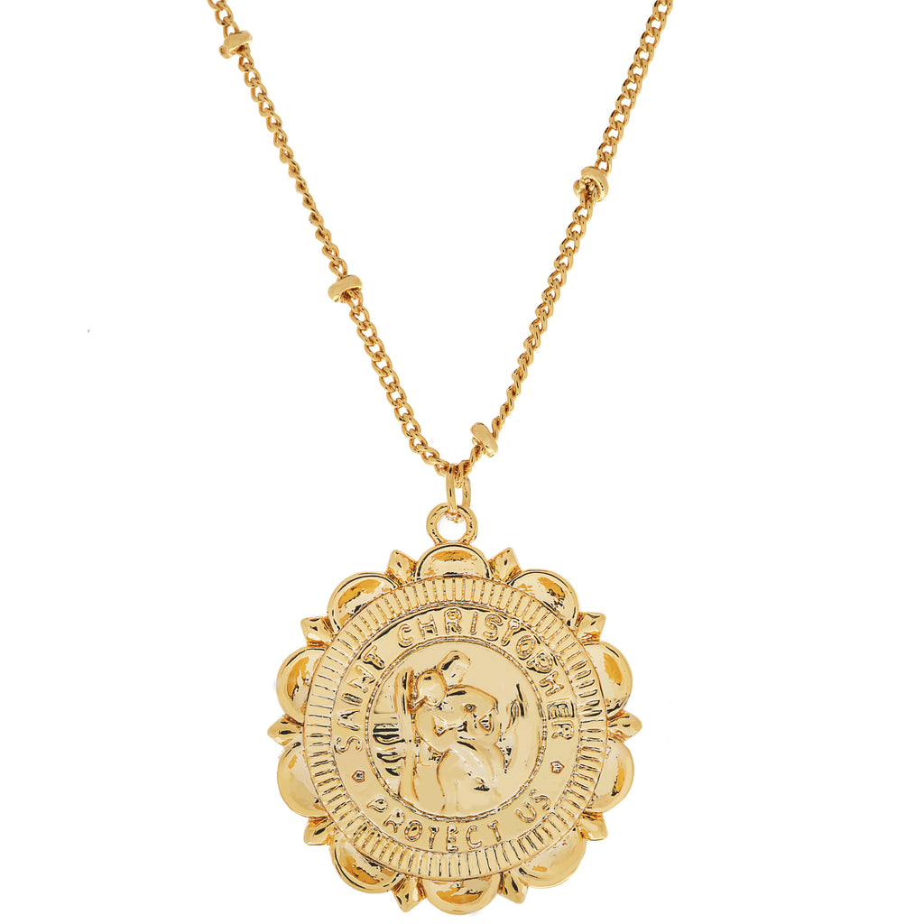 Flower Saint Christopher Necklace : 14K Gold Filled