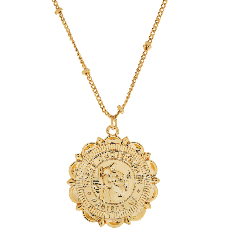 Flower Saint Christopher Necklace : Gold
