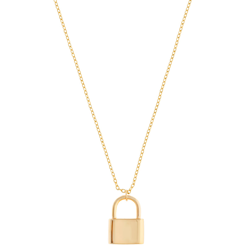 18K GP Lock Necklace : Gold