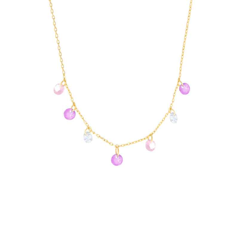 Pink Dangle Necklace: Gold