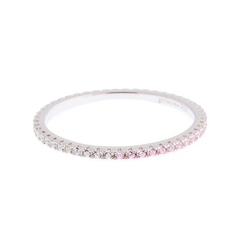 Half Palest Pink Half Clear Stack Ring