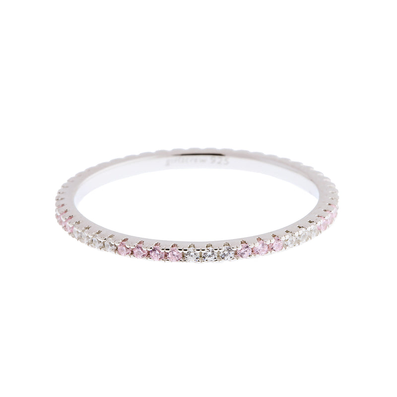 Pattern Palest Pink Stack Ring : Silver