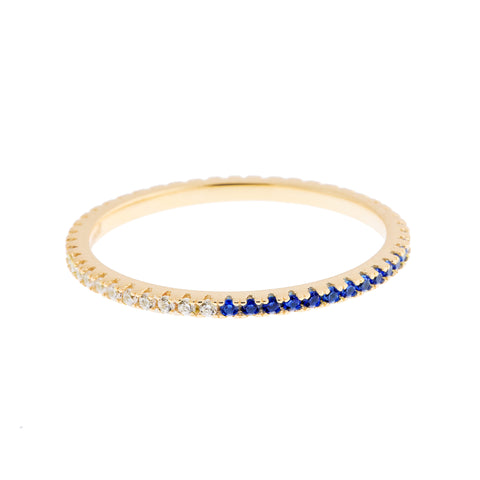Half Royal Blue Half Clear Stack Ring