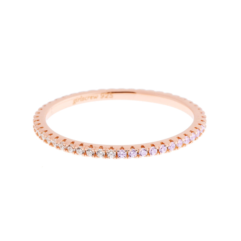 Half Lightest Lavendar Half Clear Stack Ring : Rose Gold