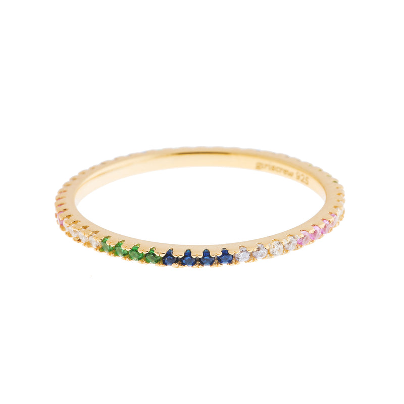 Pattern Rainbow Stack Ring : Gold
