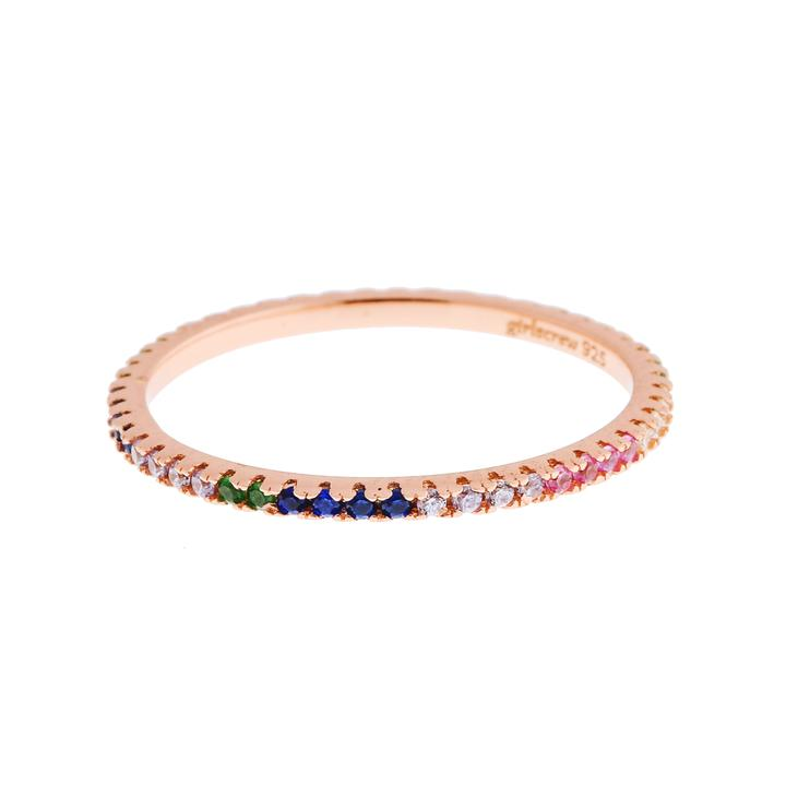Pattern Rainbow Stack Ring