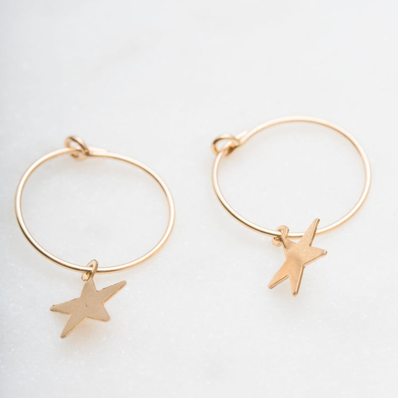 Mini Star Wire Hoops : 14k Gold Filled