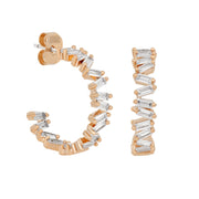 Mini Bling Baguette Hoops