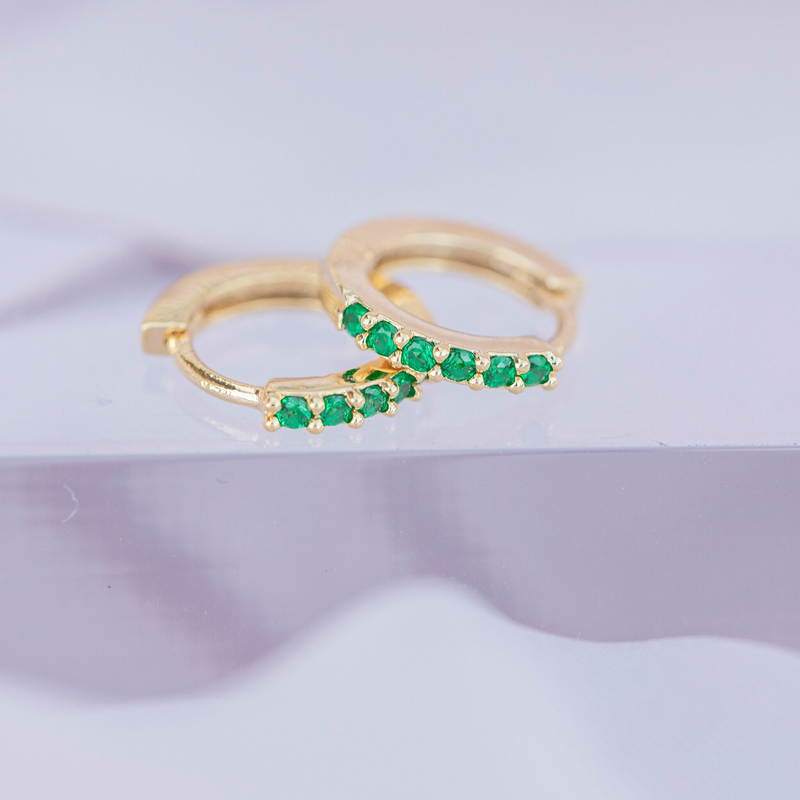 Emerald Cubic Mini Hoops : Gold
