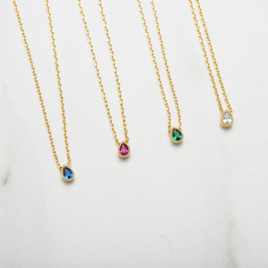 Sapphire Tiny Teardrop Necklace : Gold