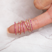 Half Magenta Half Clear Stack Ring