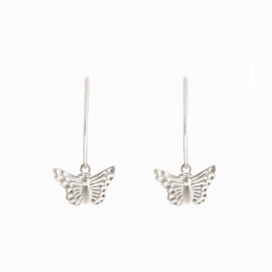 Mini Butterfly Wire Hoops : Silver