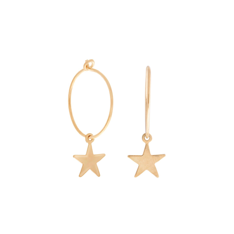 Mini Star Wire Hoops : Gold