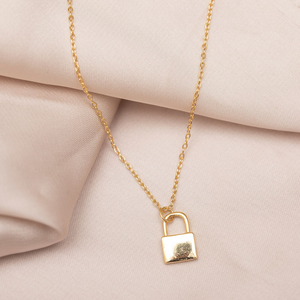 Mini Lock Necklace : Gold