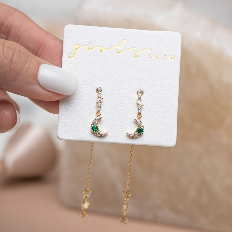 Emerald Moon & Star Dangle Earrings : Gold