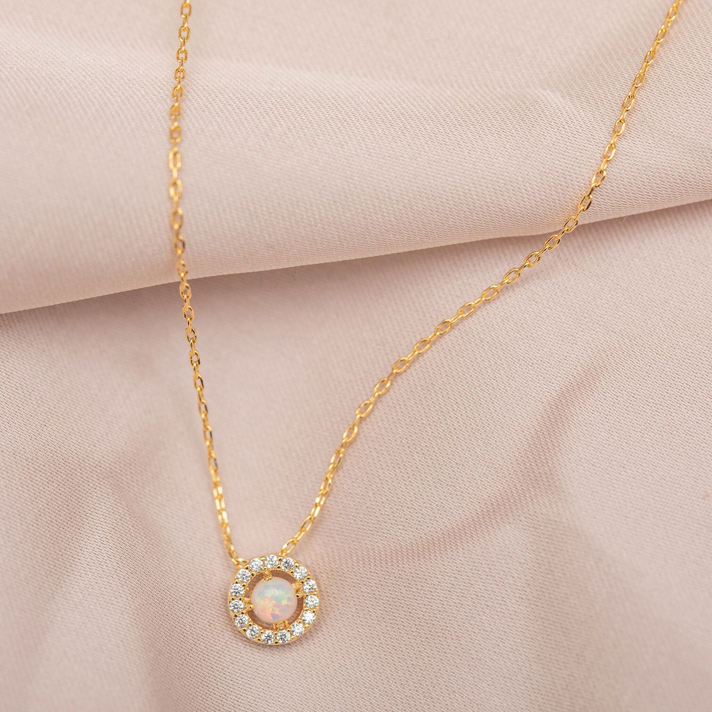 Simple Opal Necklace : Gold