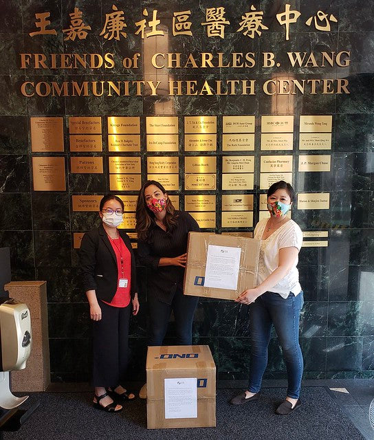 Joanne et al dropping off PPE at Charles B Wang Community Health Center