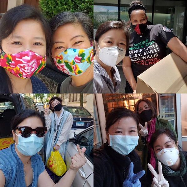 Collage of Pearl River President Joanne Kwong with handmade mask, doing mask and snack dropoffs