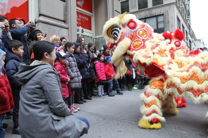 Lunar New Year lion in front of Pearl River Mart Tribeca