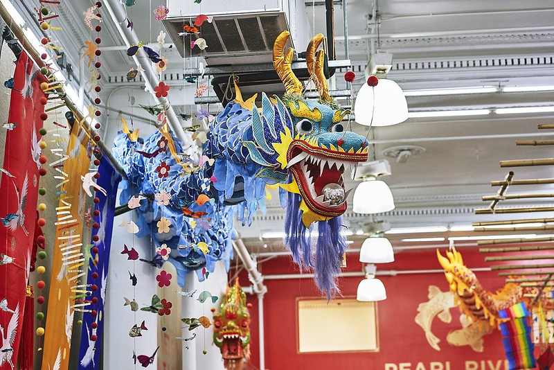 Beautiful blue dragon decoration hanging from ceiling