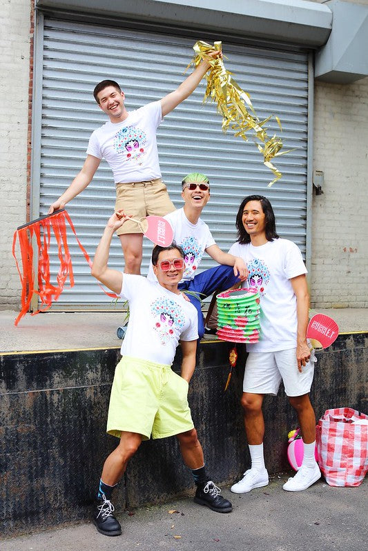 Four guys having fun in their Bubble_T x Pearl River T-shirts