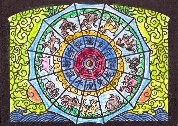 Drawing of a Chinese zodiac