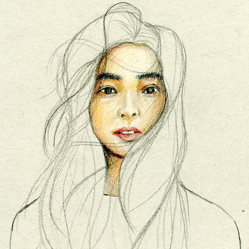 Self-portrait sketch of the artist, Felicia Liang