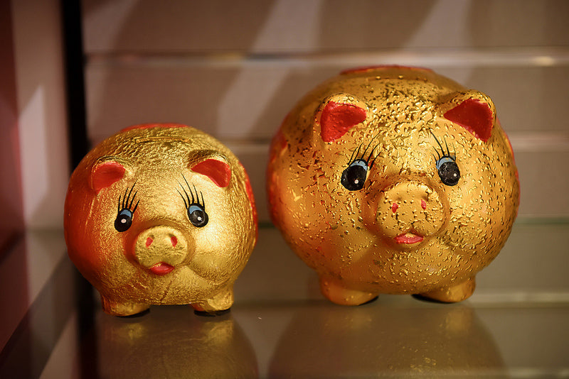 Two cute gold piggy banks, one medium, one small