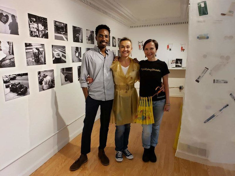 Alfonso Sjogreen, Suzette Gabriel-Schoebitz, and Rafael Giovanola-Endrass at Suzette's opening reception