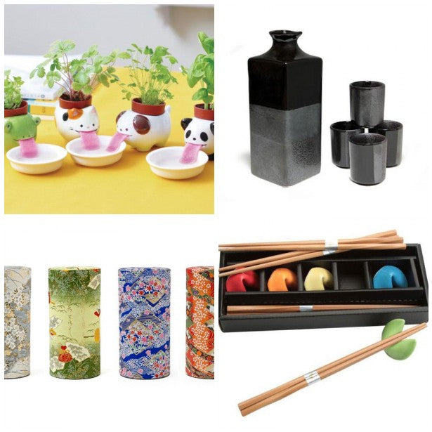 Grid of host gifts (cute planters, black sake set, tea canisters, fortune cookie chopstick holders)