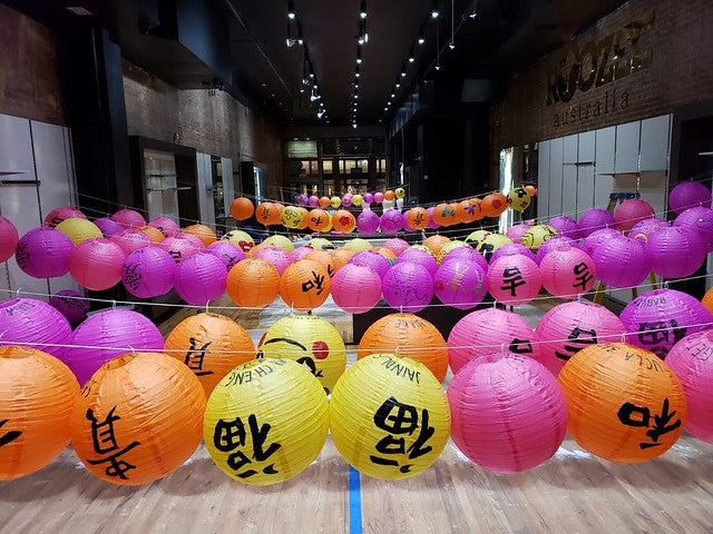 Colorful lanterns drying in Pearl River's new SoHo space