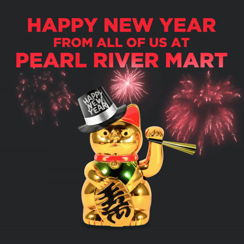 A gold lucky cat wearing a New Year hat