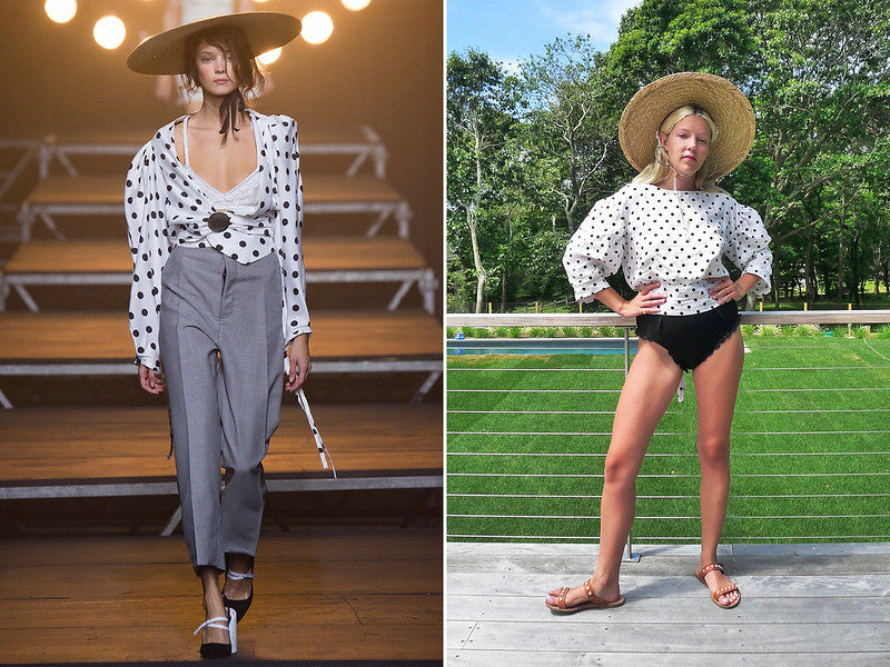 Model on runway and writer with recreated look from her own wardrobe