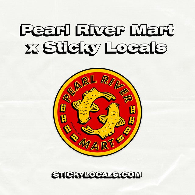 Mockup of Pearl River Mart double fish sticker