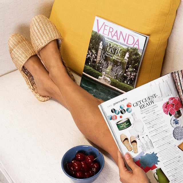 Veranda Magazine: Get Guest-Ready with Our Straw Slippers!