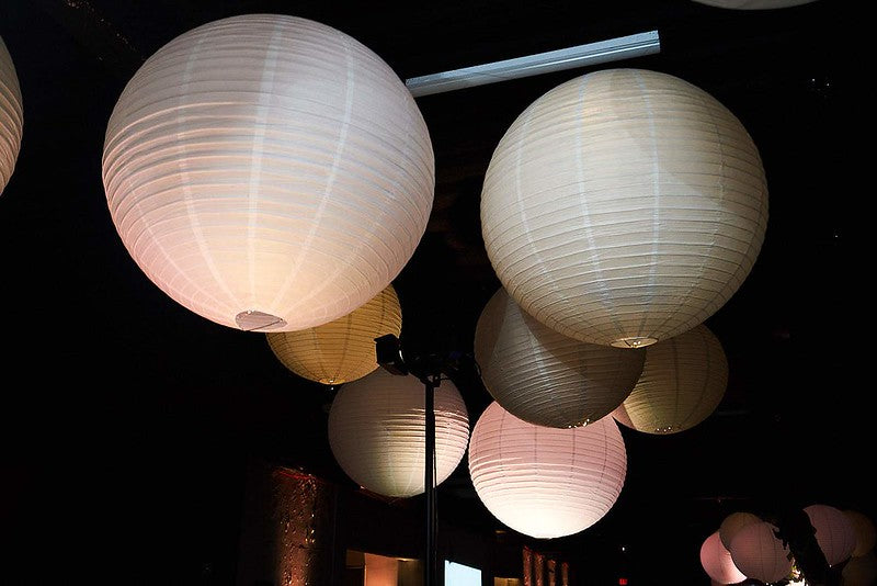 White lanterns at an event