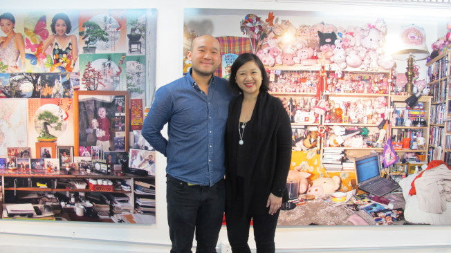 Artist-in-residence Louis Chan with our president, Joanne Kwong
