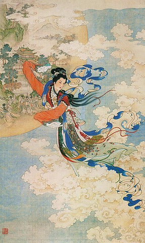 The moon goddess Chang'E ascending to the heavens