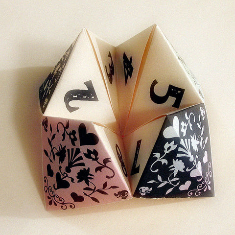 Paper fortune teller with black and white design
