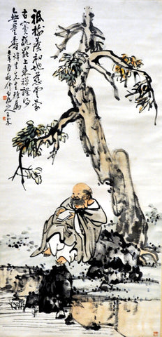 Chinese scroll of the monk Budai under a pine tree