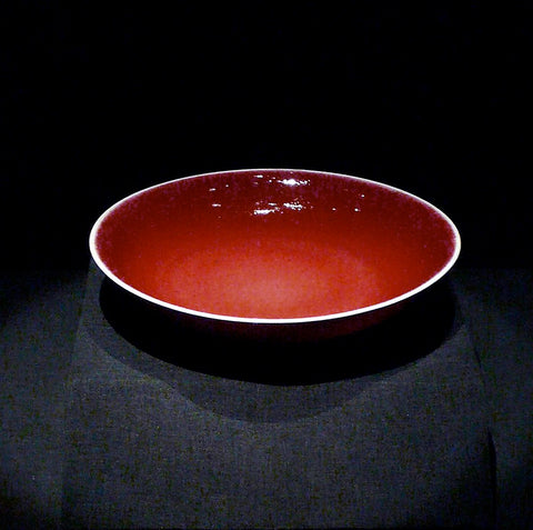 Red glass Chinese ceramic bowl