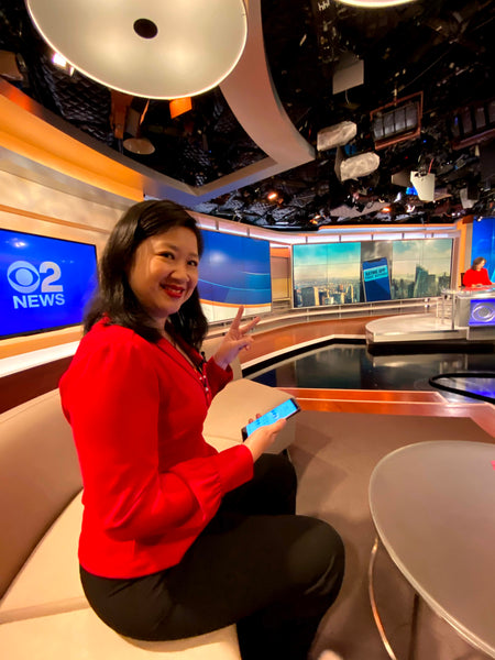 Joanne Kwong about to go in front of the cameras at CBS News