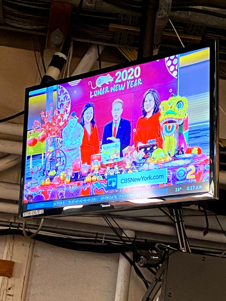 Shot of TV with Joanne Kwong, John Elliot, and Cindy Hsu