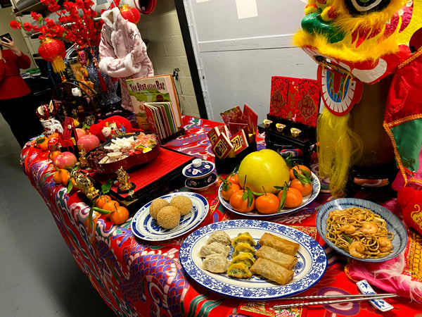 Table of Lunar New Year items backstage of CBS studio