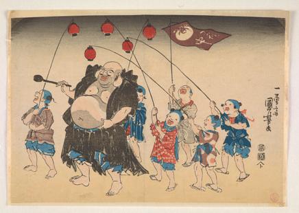 The Japanese Hotei deity with a group of children carrying red lanterns
