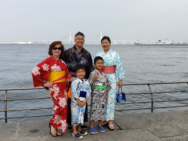 Joanne Kwong with her family in traditional Japanese clothing