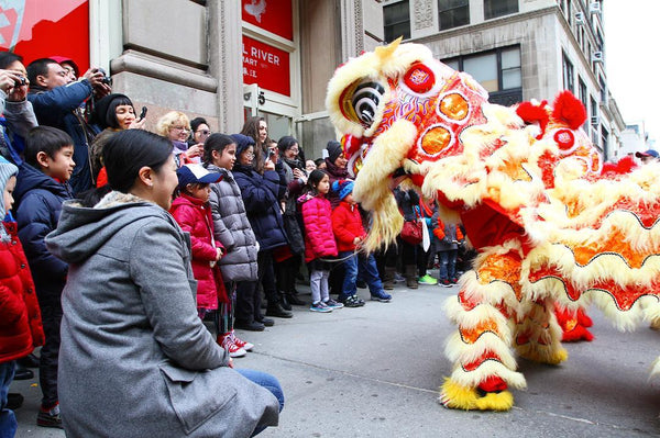 Crowd on sidewalk watching lion dancing