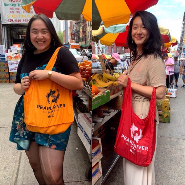 "Split screen with two young women, one holding a yellow ""eco"" bag and other holding a red bag"