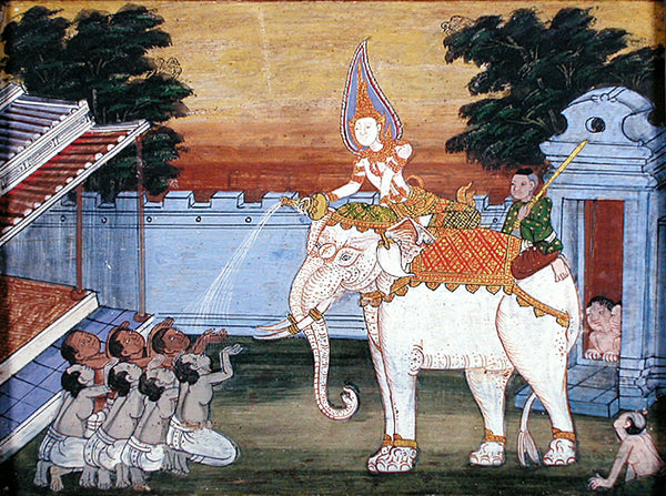 Thai royalty riding a white elephant