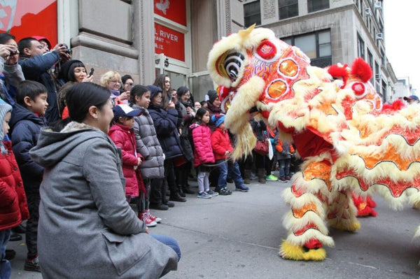 Lunar New Year lion dancing in front of Pearl River Mart Tribeca store with crowd